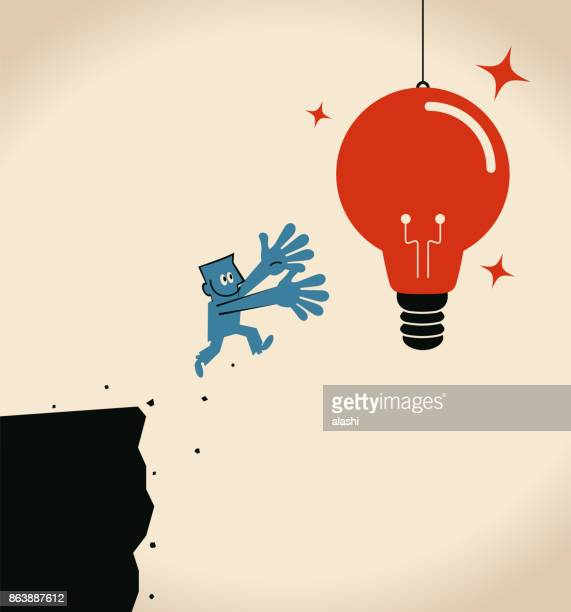 businessman jumping off cliff (abyss) for a big hanging light bulb idea - crag stock illustrations, clip art, cartoons, & icons