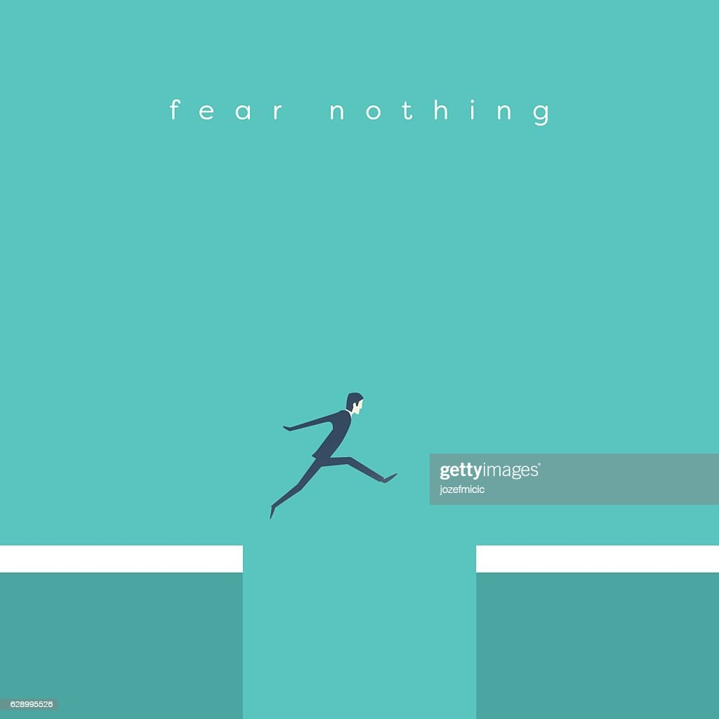 Businessman jumping over chasm vector concept. Symbol of business success