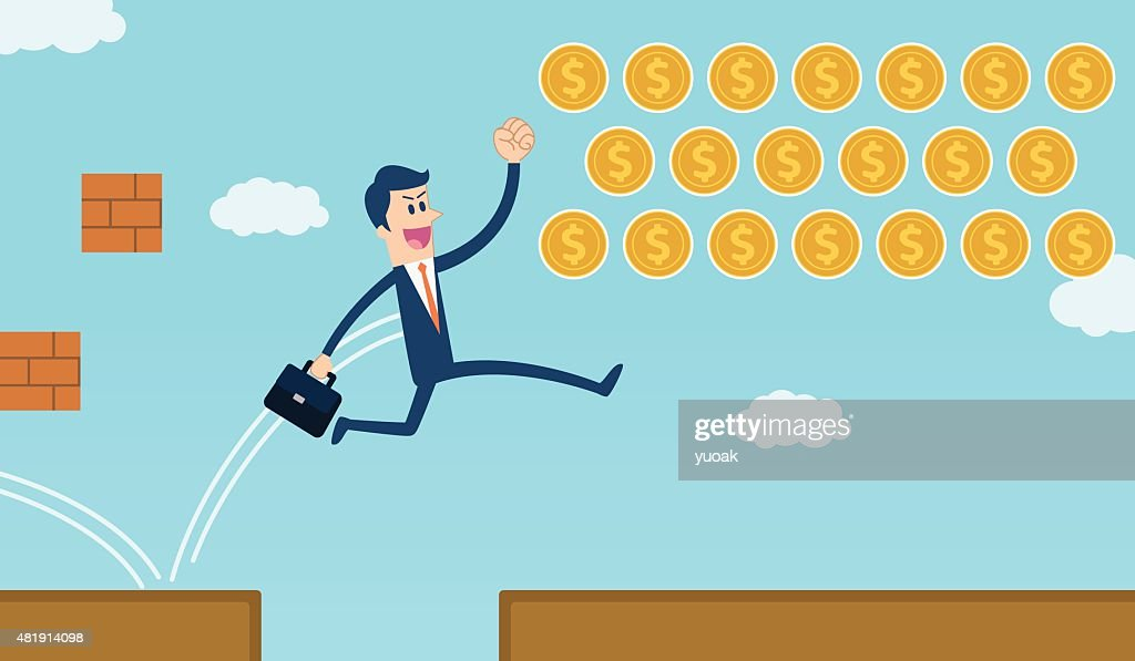 businessman jumping over gap and get coins : Vector Art