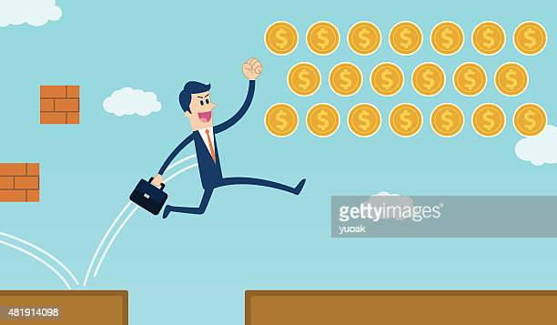 businessman jumping over gap and get coins