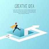 Businessman jumping over hole, brave step. Vector illustration.