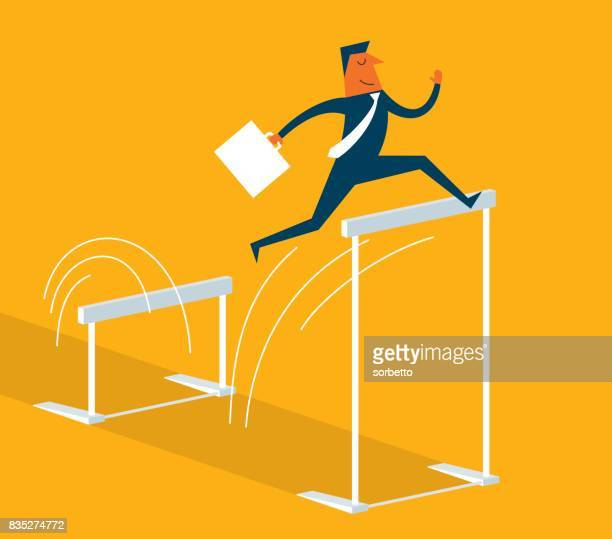 businessman jumping over hurdle - hurdle stock illustrations