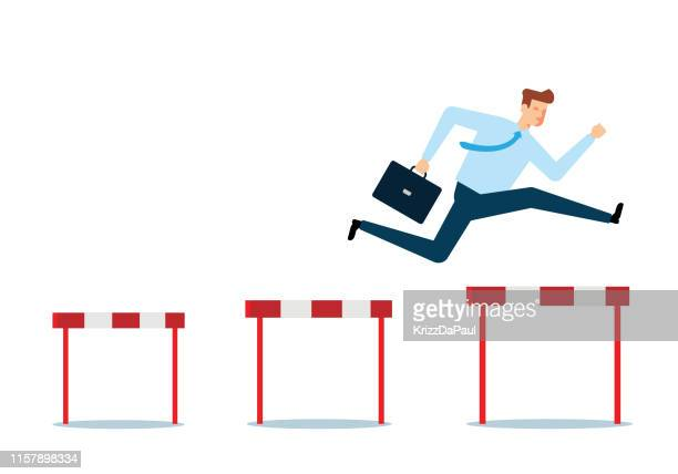 businessman jumping over hurdles - hurdle stock illustrations