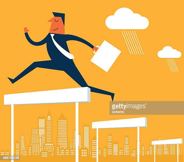 businessman jumping over the hurdles - hurdle stock illustrations