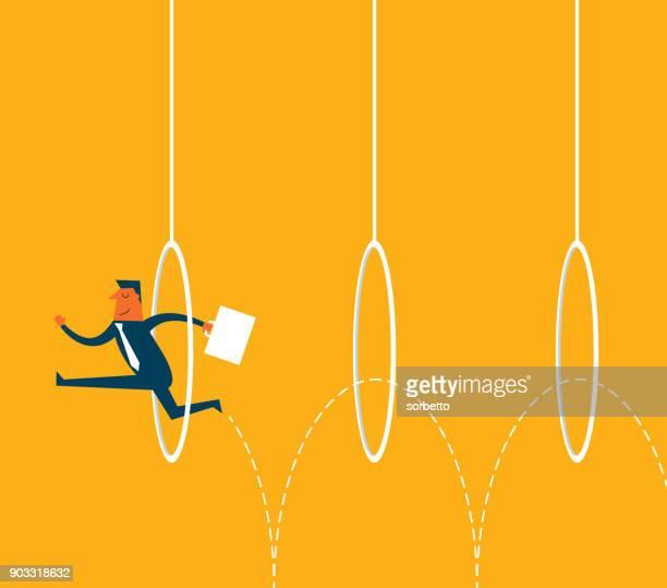 businessman jumping through hoops - plastic hoop stock illustrations