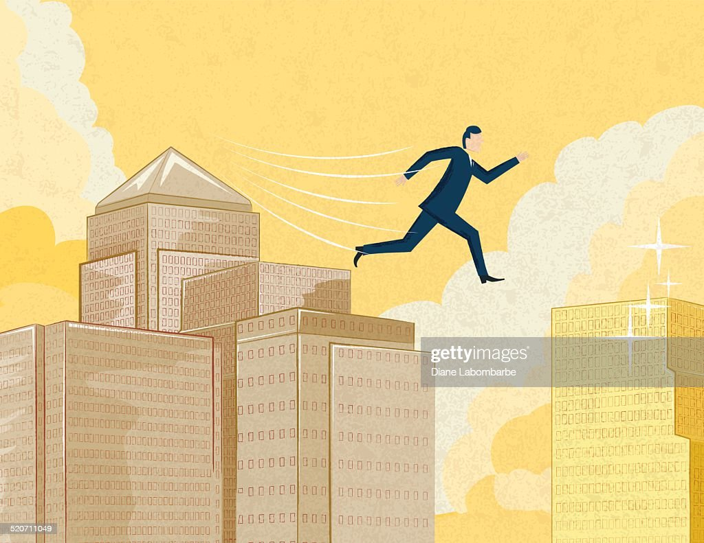 Businessman Jumping to a New Opportunity