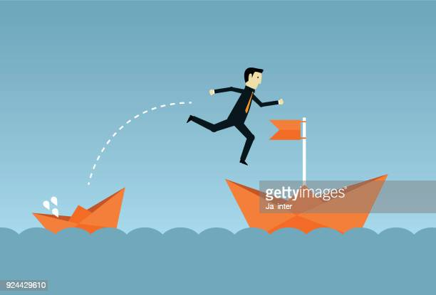businessman jumping to big ship - jumping stock illustrations