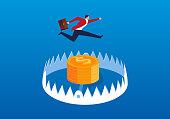 Businessman jumping trap