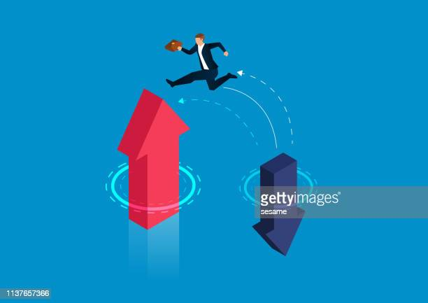 businessman jumps from falling arrow to rising arrow - change stock illustrations