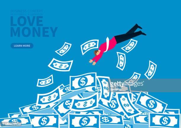 ilustraciones, imágenes clip art, dibujos animados e iconos de stock de empresario salta al dinero apilado - flotando en el aire