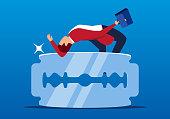 Businessman jumps over sharp blade