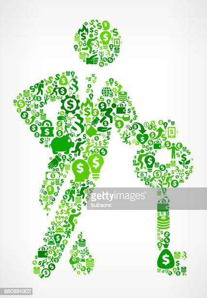 businessman & key  money and finance green vector icon background - flipping a coin stock illustrations, clip art, cartoons, & icons