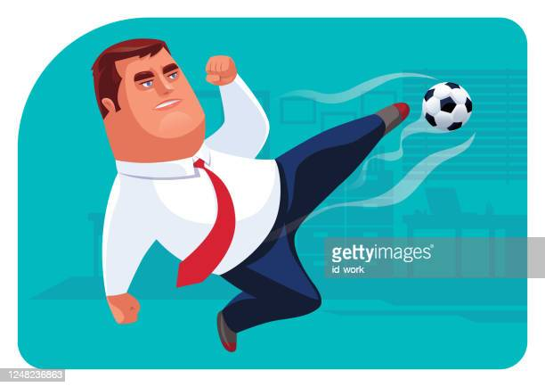 businessman kicking football in office - overtime sport stock illustrations