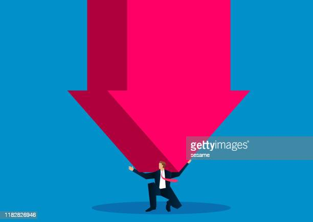 businessman kneeling on the ground, shoulder carrying a huge falling arrow - defeat stock illustrations
