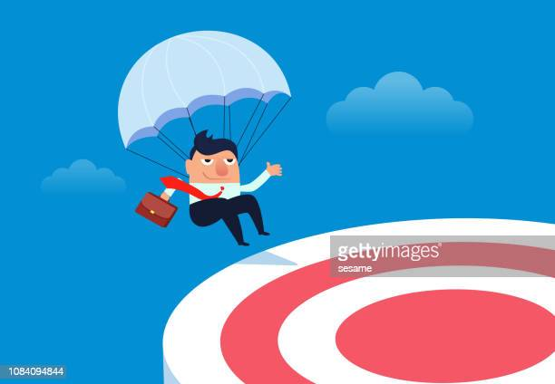 Businessman landing to the target point