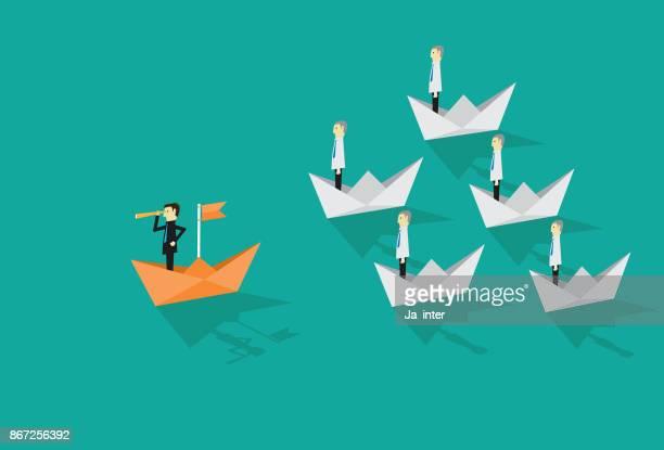 ilustraciones, imágenes clip art, dibujos animados e iconos de stock de liderazgo empresario - gerente
