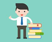 Businessman, librarian or teacher stand with stack of books, education flat design