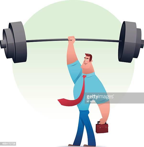businessman lifting barbells - barbell stock illustrations, clip art, cartoons, & icons