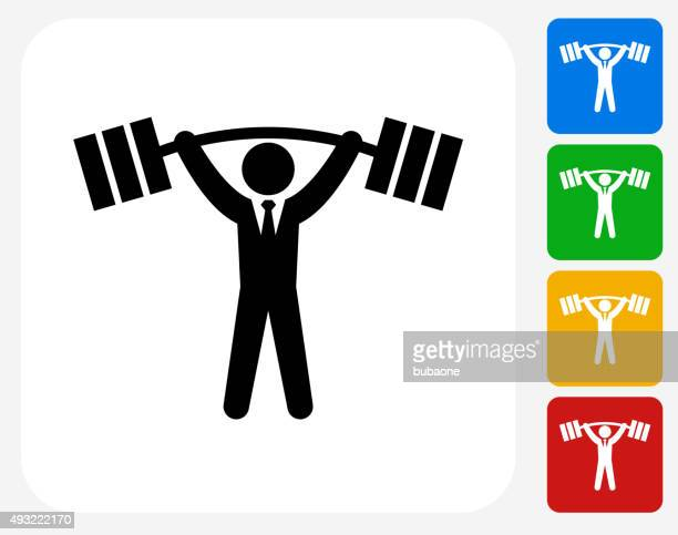 Businessman Lifting Weights Icon Flat Graphic Design