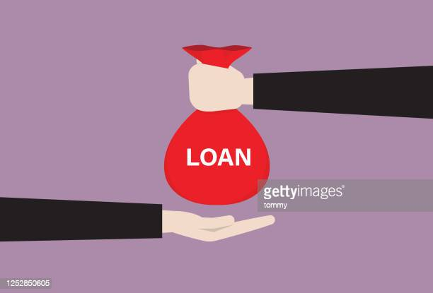 businessman loan money from the bank - borrowing stock illustrations