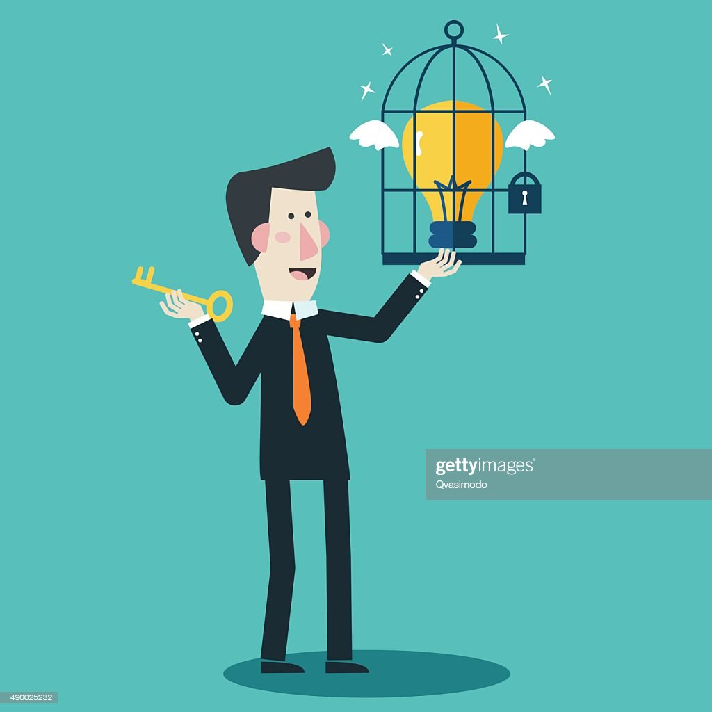 Businessman locks idea in cage. Businessman frees idea from cage