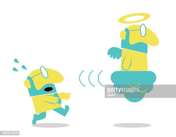 illustrazioni stock, clip art, cartoni animati e icone di tendenza di businessman longing, pleading to god (angel), the pursuit of success, happiness, luck - seguire attività che richiede movimento