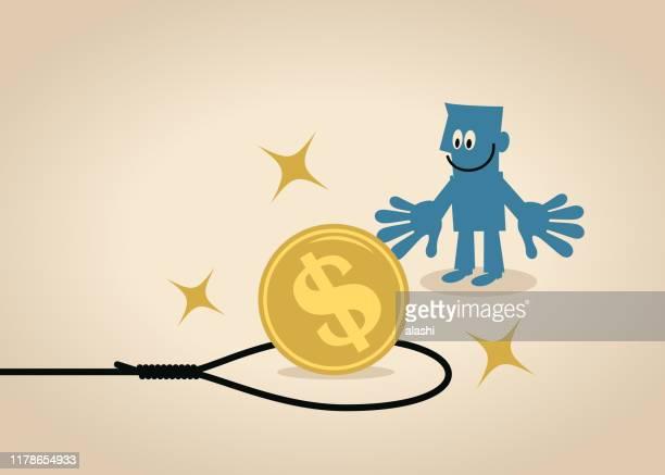 ビジネスマンは、ヌーストラップの中に大きなドル記号通貨コインを見て - 待ち伏せ点のイラスト素材/クリップアート素材/マンガ素材/アイコン素材