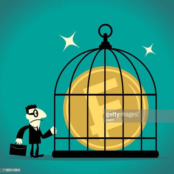 ケージの中でフランサインフランスの通貨を見ているビジネスマン(鳥かご) - スウェーデン通貨点のイラスト素材/クリップアート素材/マンガ素材/アイコン素材