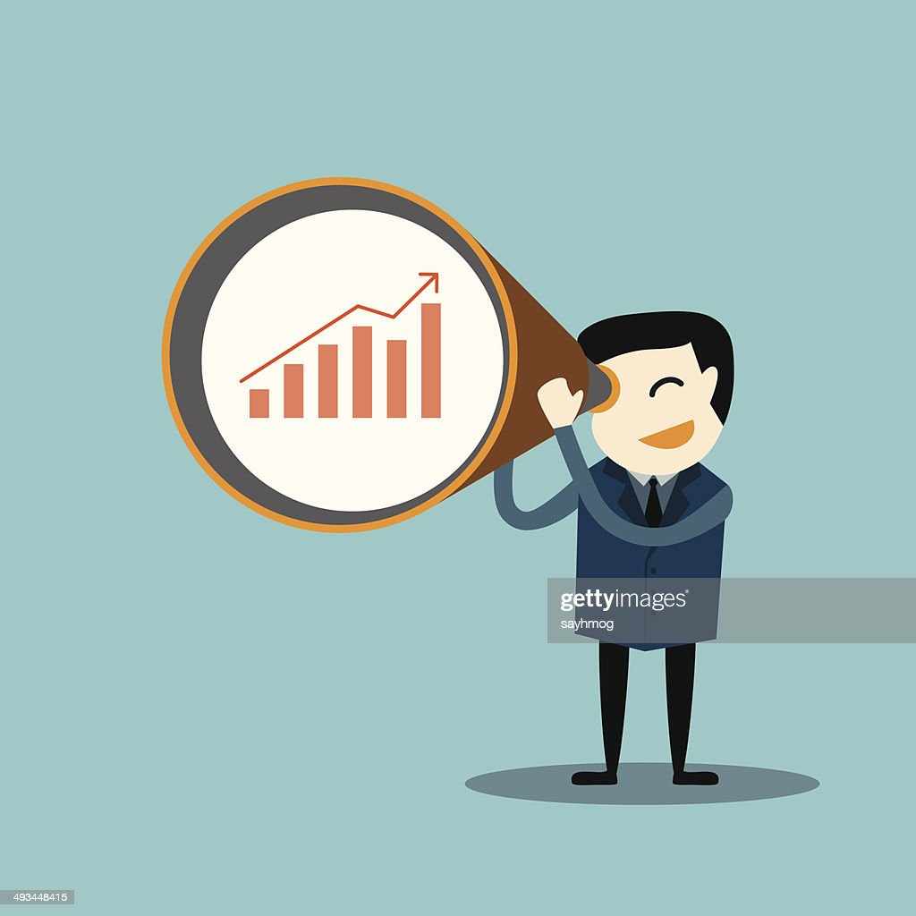 Businessman looking business graph data with a zoom lens concept