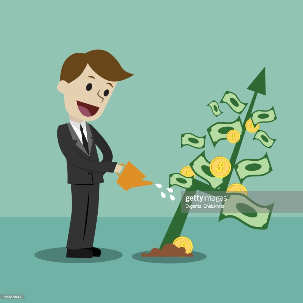 Businessman Looking For Growth Chart And Money Vector Art Getty Images