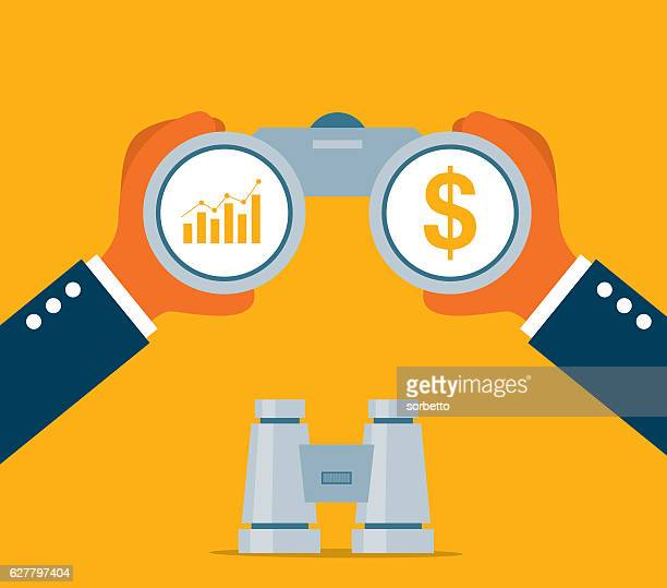 businessman looking for investment - binoculars stock illustrations