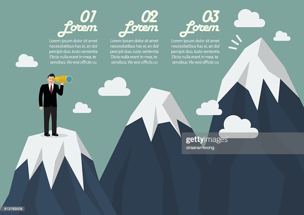 Businessman looking for mountain peak infographic