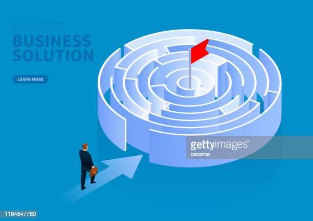 illustrazioni stock, clip art, cartoni animati e icone di tendenza di uomo d'affari alla ricerca di modi per raggiungere il punto finale, risolvendo il concetto di problemi aziendali - intrico