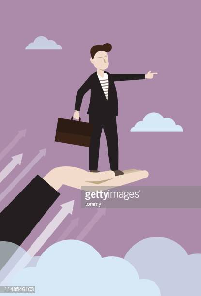 illustrations, cliparts, dessins animés et icônes de homme d'affaires regardant vers l'avant sur un coup de main - directeur d'exploitation