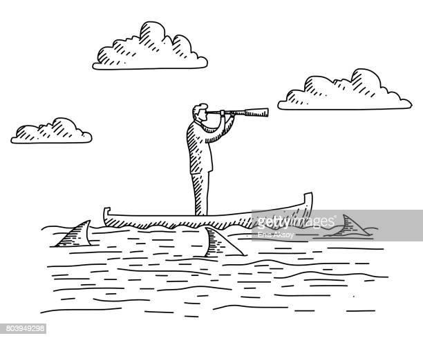 ilustrações, clipart, desenhos animados e ícones de empresário olhando em barco com tubarões em torno dele - risco