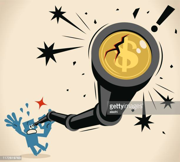 businessman looking through a hand-held telescope with dollar sign and crack, currency crisis (stock market crash) concept - hedge fund stock illustrations, clip art, cartoons, & icons