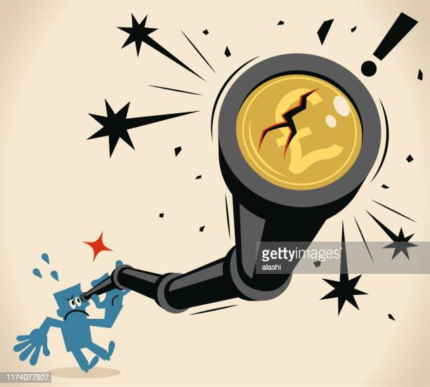 businessman looking through a hand-held telescope with pound sign and crack, british currency crash concept - hedge fund stock illustrations, clip art, cartoons, & icons