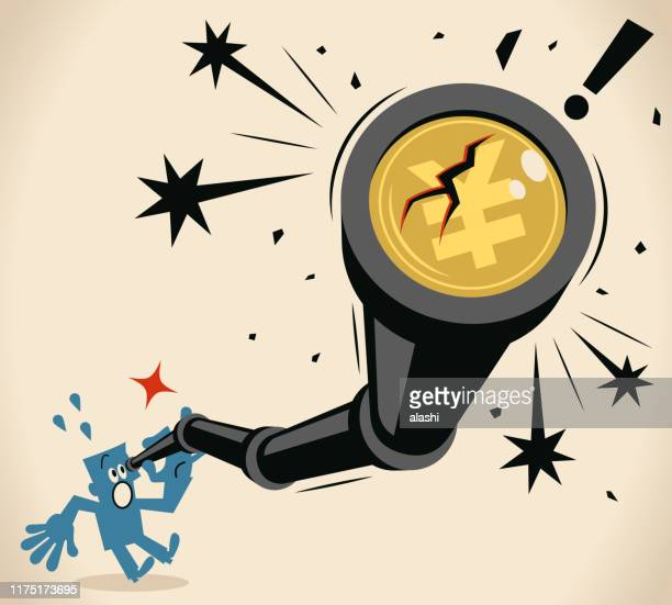 businessman looking through a hand-held telescope with yen sign (japanese currency) and crack, currency crisis (stock market crash) concept - hedge fund stock illustrations, clip art, cartoons, & icons