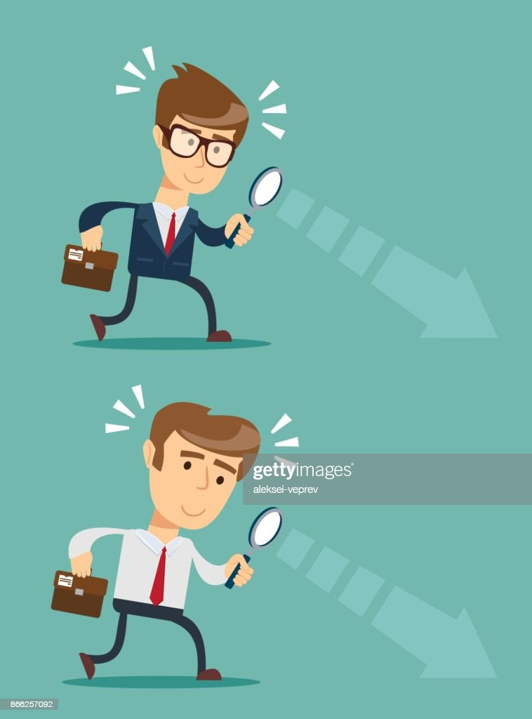 Businessman looking through a magnifying glass. Set