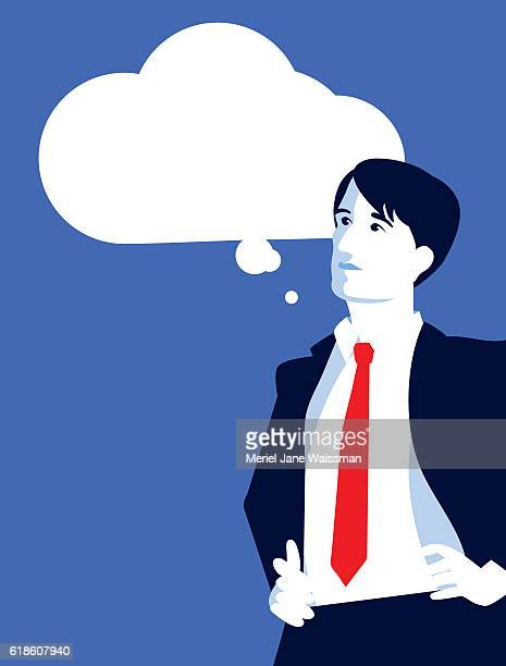 Businessman Looking up at a Thought Cloud