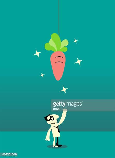 businessman looking up at dangling carrot (being tempted) - incentive stock illustrations, clip art, cartoons, & icons