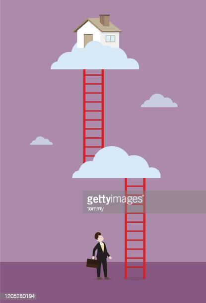 businessman looking up to find the way for house - tall high stock illustrations