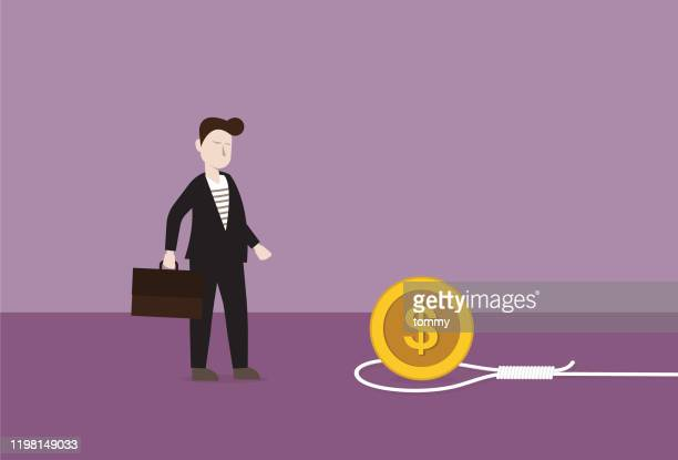 businessman looking us dollar coin in a trap - trapped stock illustrations