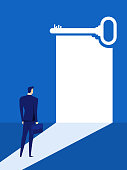Businessman looks at the key door of success, solution, opportunities, future business trends. Vision concept.