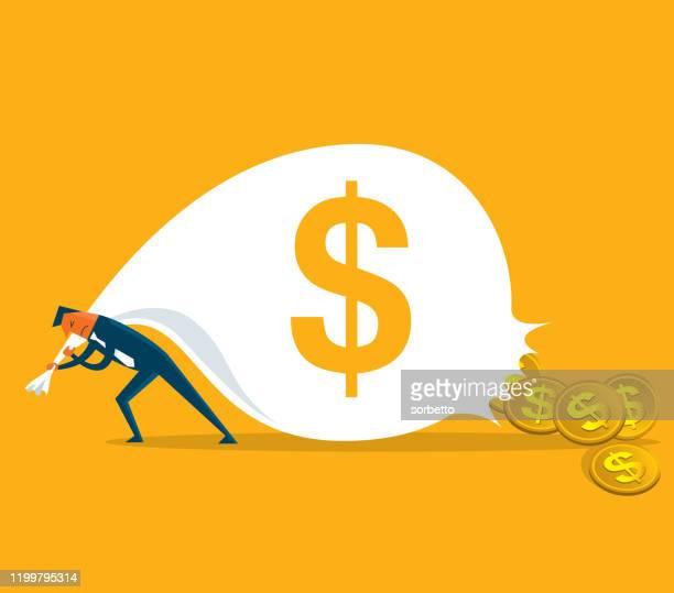 お金を失うビジネスマン - 布の袋点のイラスト素材/クリップアート素材/マンガ素材/アイコン素材