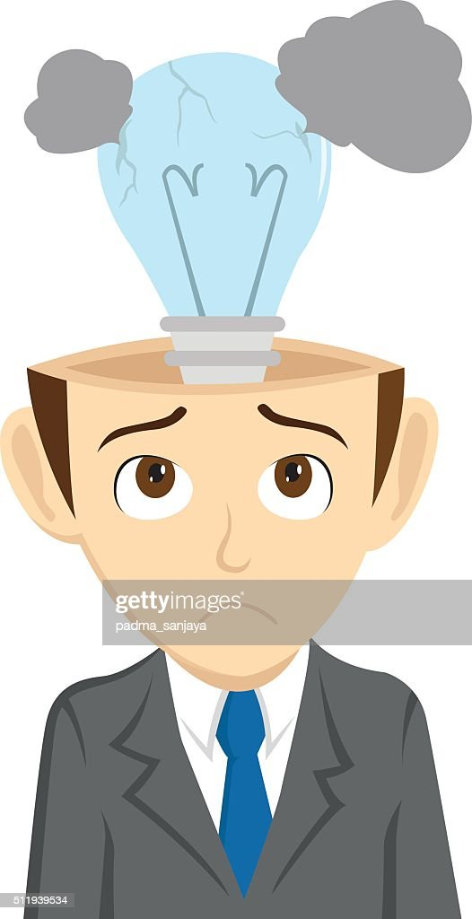Businessman Lost Idea With Broken Light Bulb Vector Art