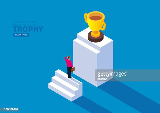 businessman lost the stairs to pick up the trophy - disappointment stock illustrations
