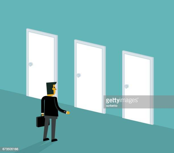 businessman make a choice - door frame stock illustrations, clip art, cartoons, & icons