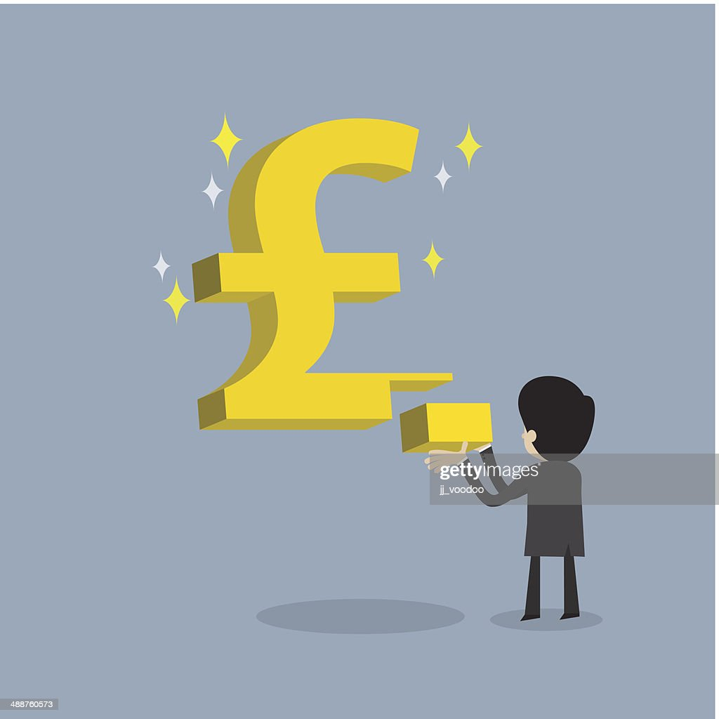 businessman make strong business with Pound currency sign