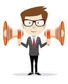 Businessman messenger negotiator with a loudspeaker horn